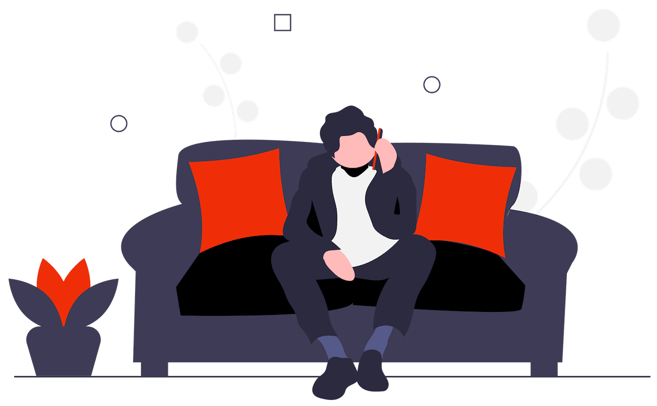 Illustration showing a man sat on the sofa with a phone in his hand
