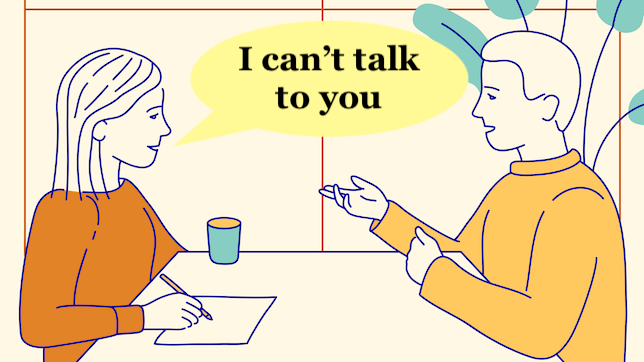 A woman tells a man she can not talk to him